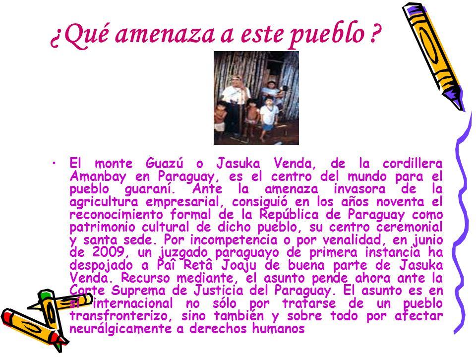 ¿Qué amenaza a este pueblo ? El monte Guazú o Jasuka Venda, de la cordillera Amanbay en Paraguay, es el centro del mundo para el pueblo guaraní. Ante