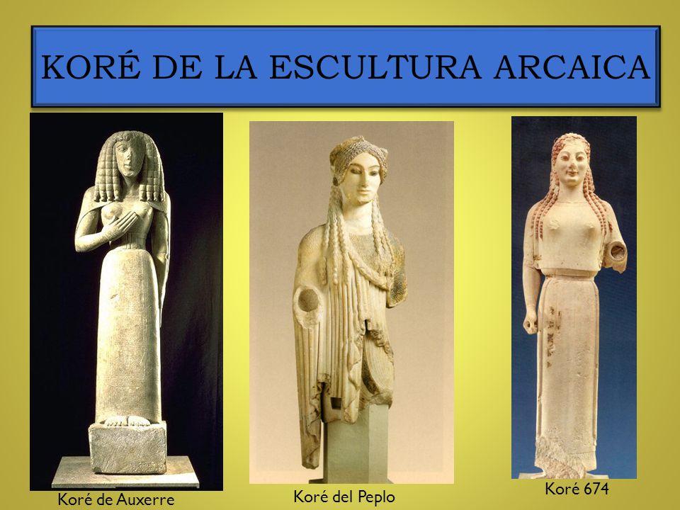 KORÉ DE LA ESCULTURA ARCAICA Koré de Auxerre Koré del Peplo Koré 674