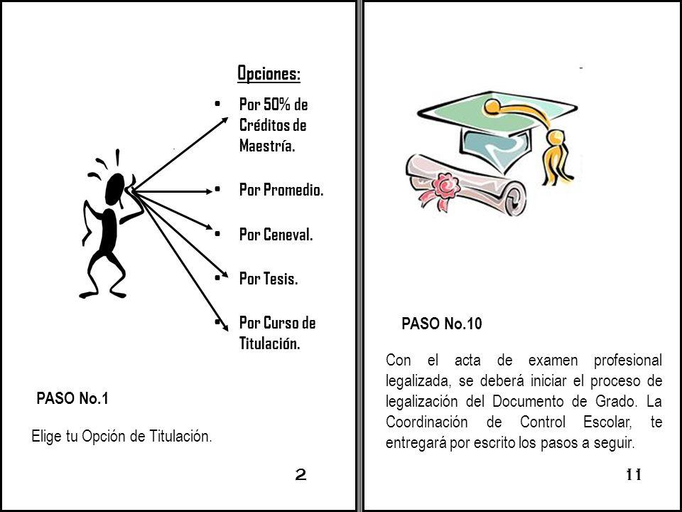PASO No.1 Elige tu Opción de Titulación. 211 PASO No.10 Con el acta de examen profesional legalizada, se deberá iniciar el proceso de legalización del