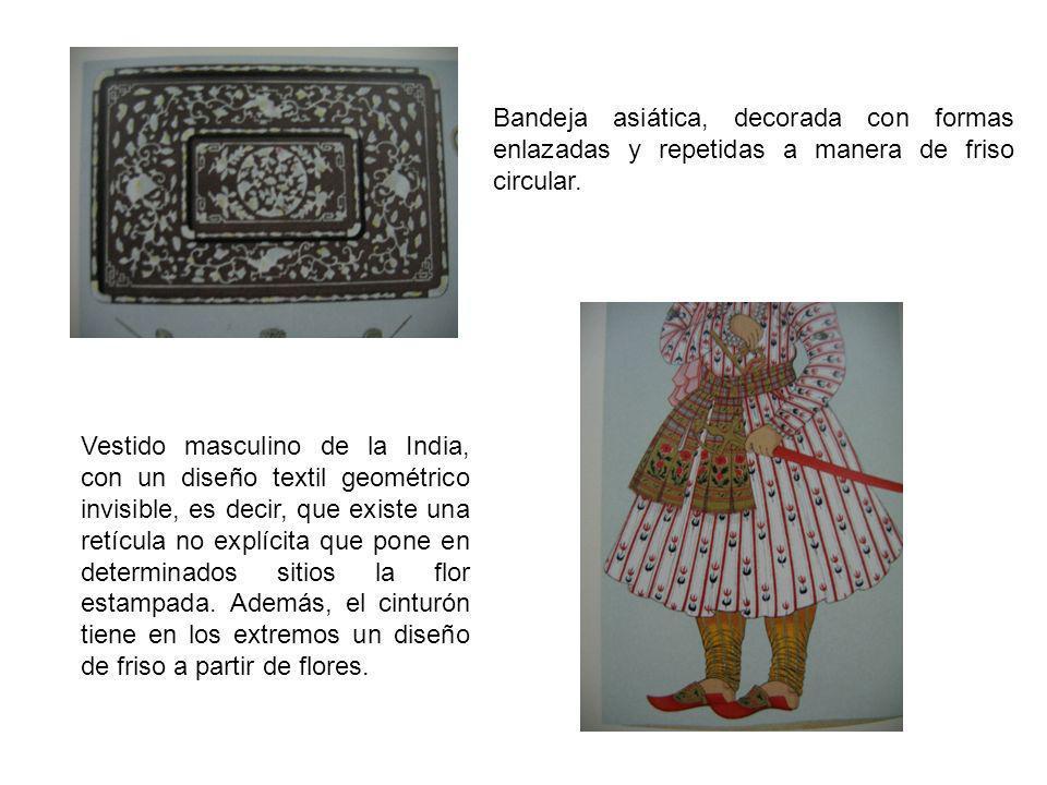 Bandeja asiática, decorada con formas enlazadas y repetidas a manera de friso circular. Vestido masculino de la India, con un diseño textil geométrico