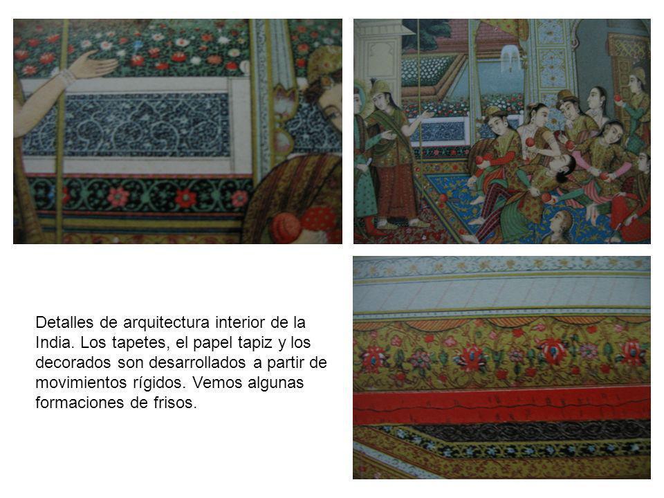 Detalles de arquitectura interior de la India. Los tapetes, el papel tapiz y los decorados son desarrollados a partir de movimientos rígidos. Vemos al