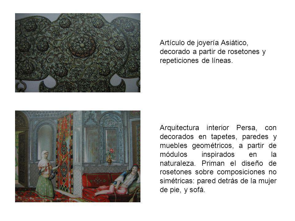 Artículo de joyería Asiático, decorado a partir de rosetones y repeticiones de líneas. Arquitectura interior Persa, con decorados en tapetes, paredes