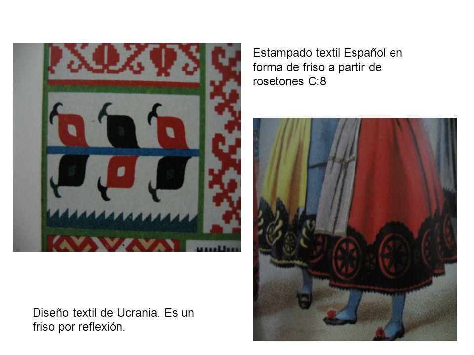 Estampado textil Español en forma de friso a partir de rosetones C:8 Diseño textil de Ucrania. Es un friso por reflexión.
