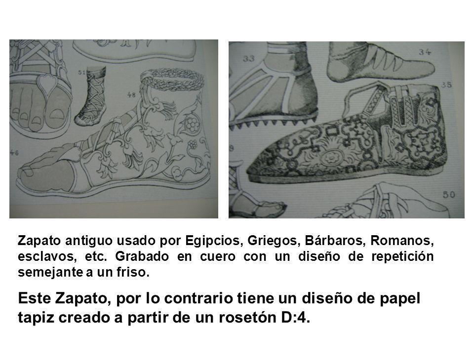 Zapato antiguo usado por Egipcios, Griegos, Bárbaros, Romanos, esclavos, etc. Grabado en cuero con un diseño de repetición semejante a un friso. Este
