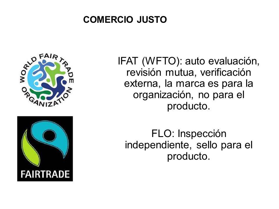 IFAT (WFTO): auto evaluación, revisión mutua, verificación externa, la marca es para la organización, no para el producto.