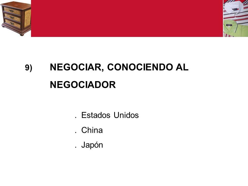 9) NEGOCIAR, CONOCIENDO AL NEGOCIADOR. Estados Unidos. China. Japón