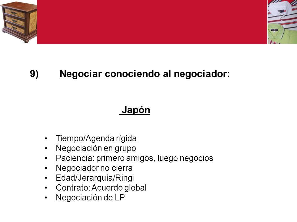 9) Negociar conociendo al negociador: Japón Tiempo/Agenda rígida Negociación en grupo Paciencia: primero amigos, luego negocios Negociador no cierra Edad/Jerarquía/Ringi Contrato: Acuerdo global Negociación de LP