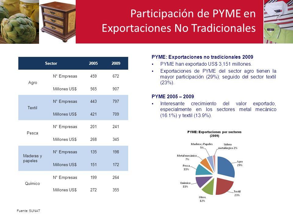 Participación de PYME en Exportaciones No Tradicionales Fuente: SUNAT Sector20052009 Agro N° Empresas459672 Millones US$565907 Textil N° Empresas44379
