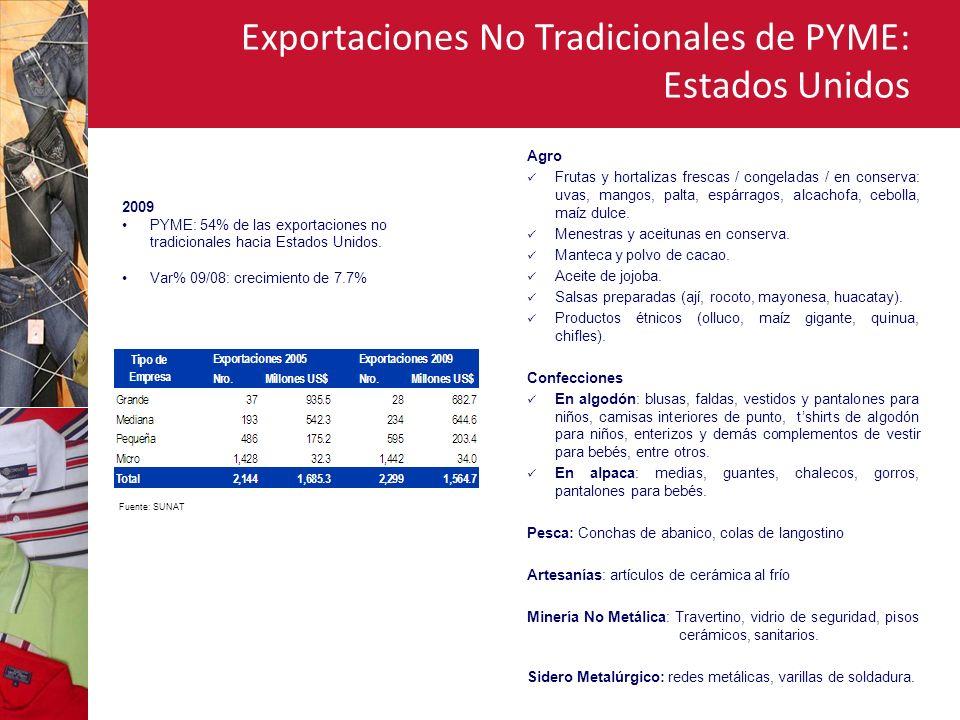Exportaciones No Tradicionales de PYME: Estados Unidos Agro Frutas y hortalizas frescas / congeladas / en conserva: uvas, mangos, palta, espárragos, alcachofa, cebolla, maíz dulce.