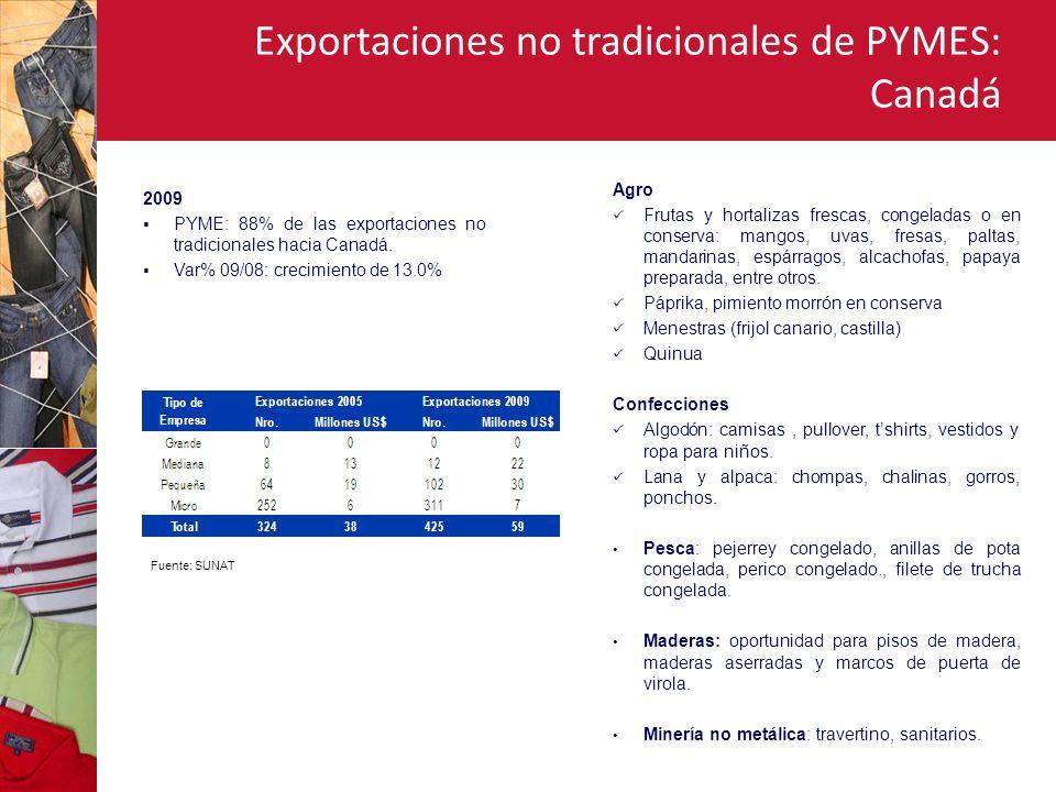 Exportaciones no tradicionales de PYMES: Chile 2009 PYME: 63% de las exportaciones no tradicionales hacia Chile.