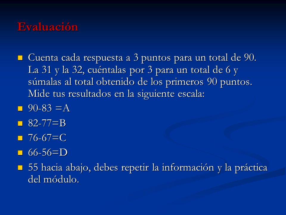 Evaluación Cuenta cada respuesta a 3 puntos para un total de 90. La 31 y la 32, cuéntalas por 3 para un total de 6 y súmalas al total obtenido de los