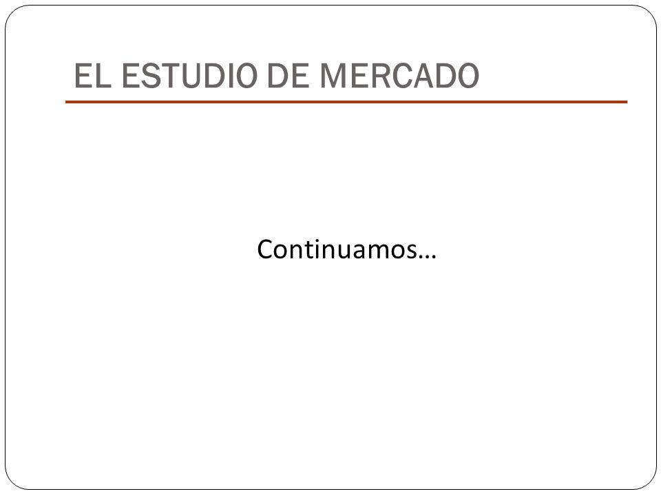 EL ESTUDIO DE MERCADO Continuamos…