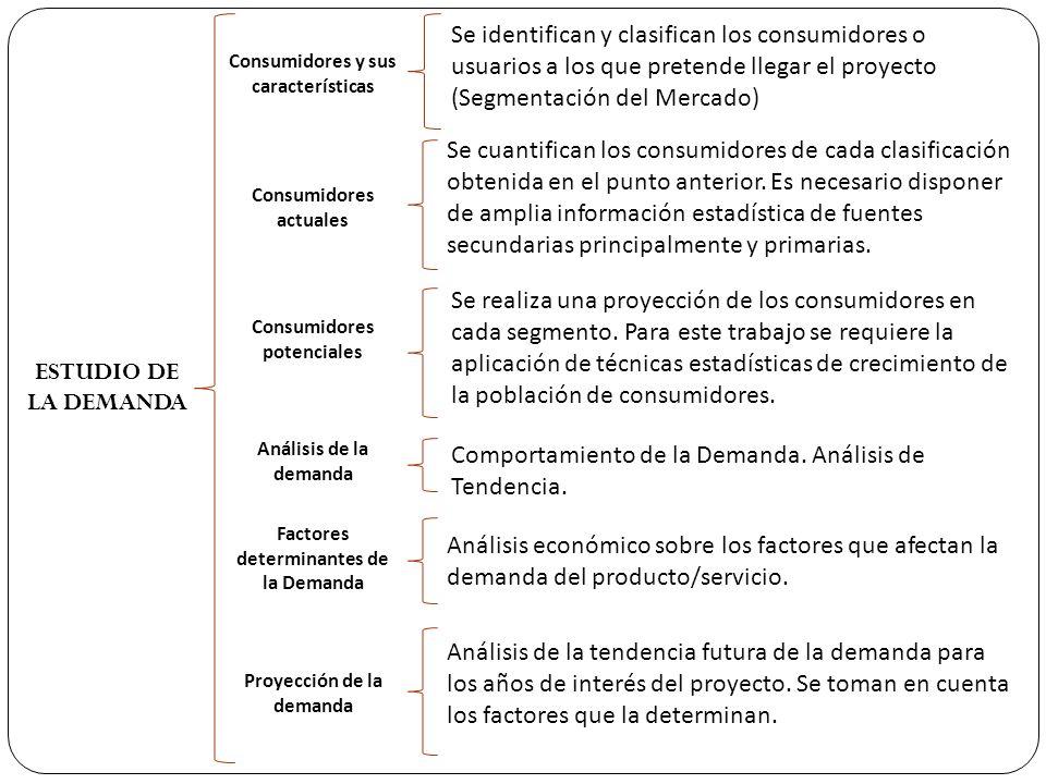 ESTUDIO DE LA DEMANDA Consumidores y sus características Consumidores actuales Consumidores potenciales Análisis de la demanda Factores determinantes