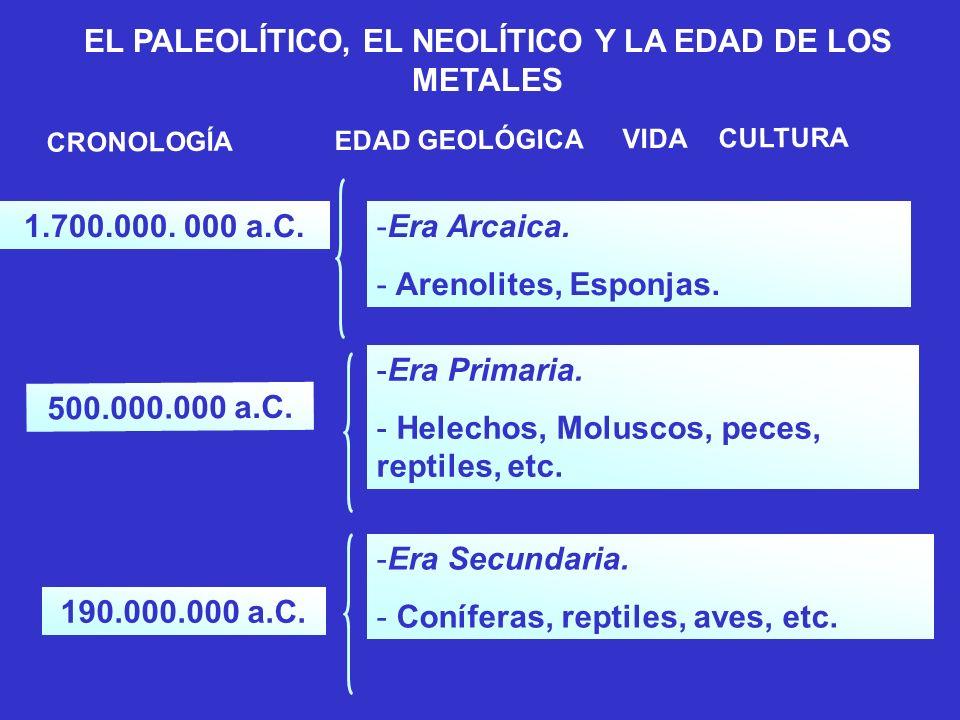 CRONOLOGÍAEDAD GEOLÓGICAVIDACULTURA 1.700.000.000 a.C.-Era Arcaica.