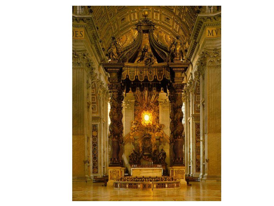 Baldaquino de San Pedro del Vaticano(Bernini) Se encuentra encima del Sepulcro de San Pedro y debajo de la gran cúpula que diseñó Miguel Ángel. Destac