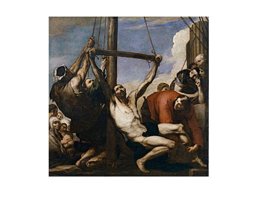 Martirio de San Bartolomé, de Ribera. Destacan los movimientos violentos y el claroscuro.