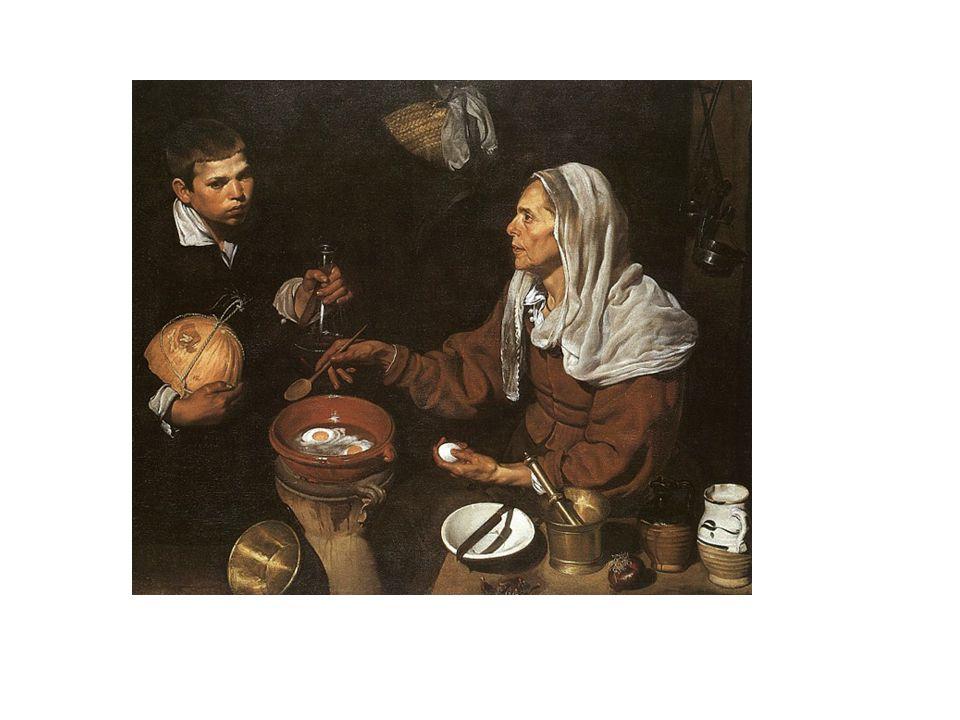 Vieja friendo huevos, de Velázquez. Realismo de los rostros, gestos y escena representada, que es una escena de la vida cotidiana. Destaca el claroscu