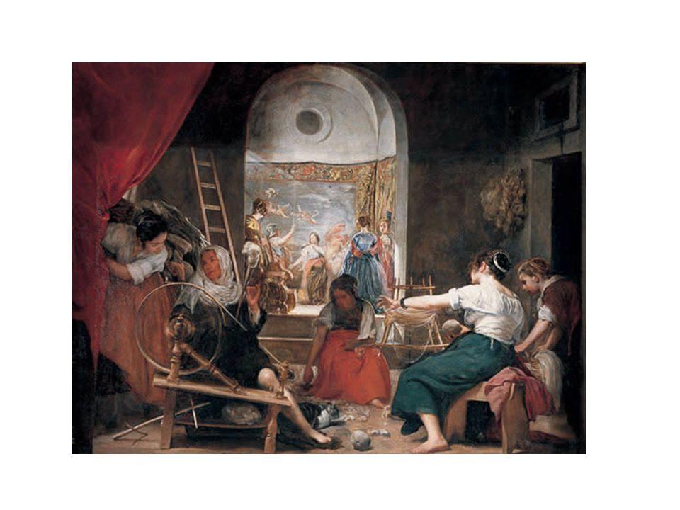 Las Hilanderas, de Velázquez. Hoy se admite que el cuadro trata un tema mitológico: La Fábula de Atenea y Aracne, en una escena del mito de Aracne que