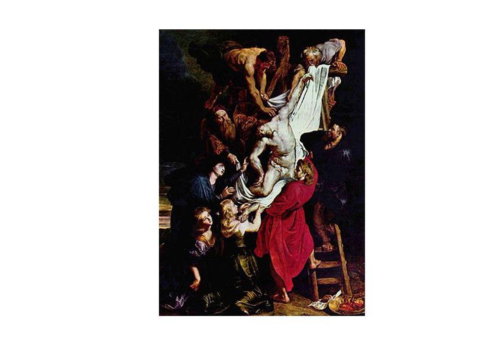 El Descendimiento, de Rubens. Composición diagonal que concentra la luz en cuerpo muerto de Cristo y en la sábana que trata de cubrirlo.