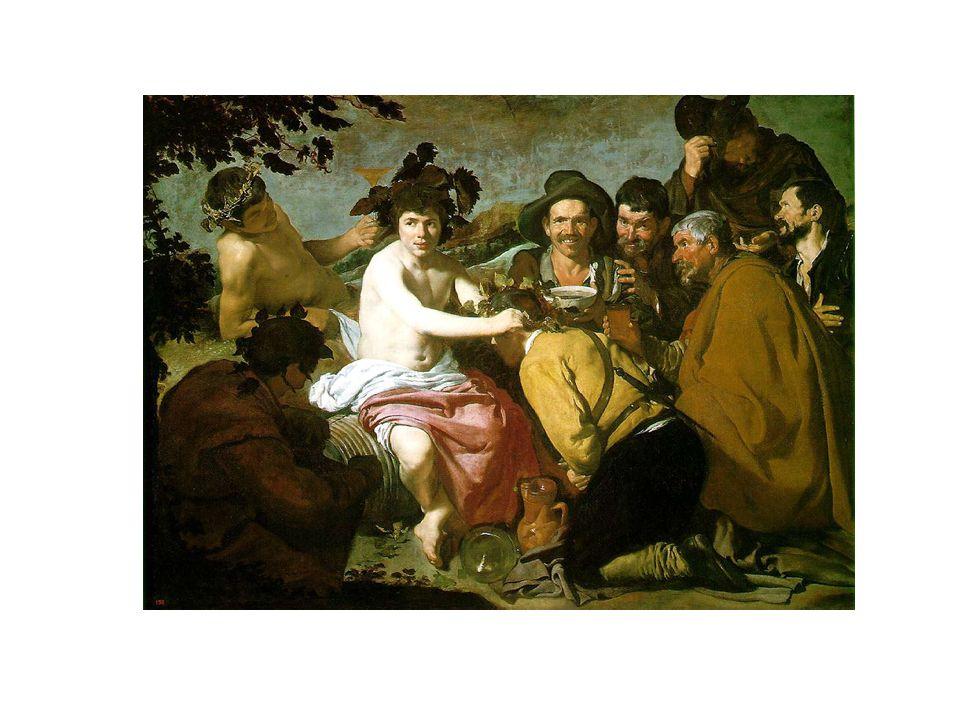 La escena puede dividirse en dos mitades. La de la izquierda, con la figura de Baco muy iluminada está cercana al estilo italiano inspirado en Caravag