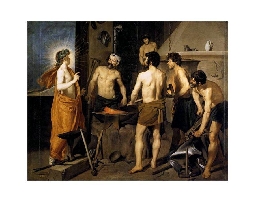 La fragua de Vulcano, de Velázquez. Idealización del Dios, Apolo que le comunica a Vulcano que su esposa Venus le está siendo infiel con Marte, el dio