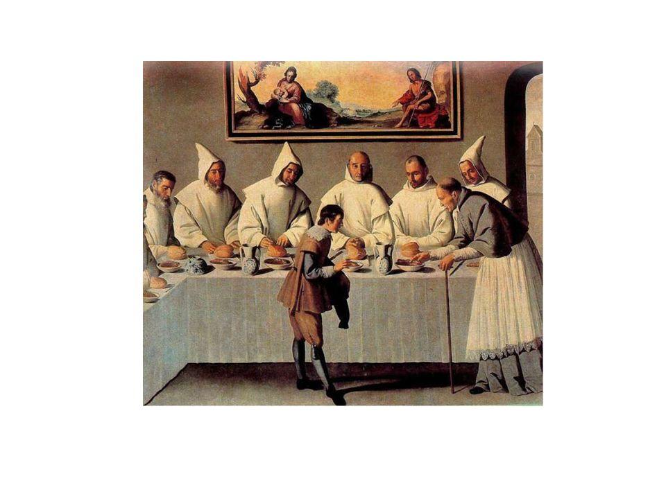 La escena refleja un milagro acontecido a San Bruno, fundador de los cartujos, y a los seis primeros monjes de la Orden, quienes comían gracias a la g