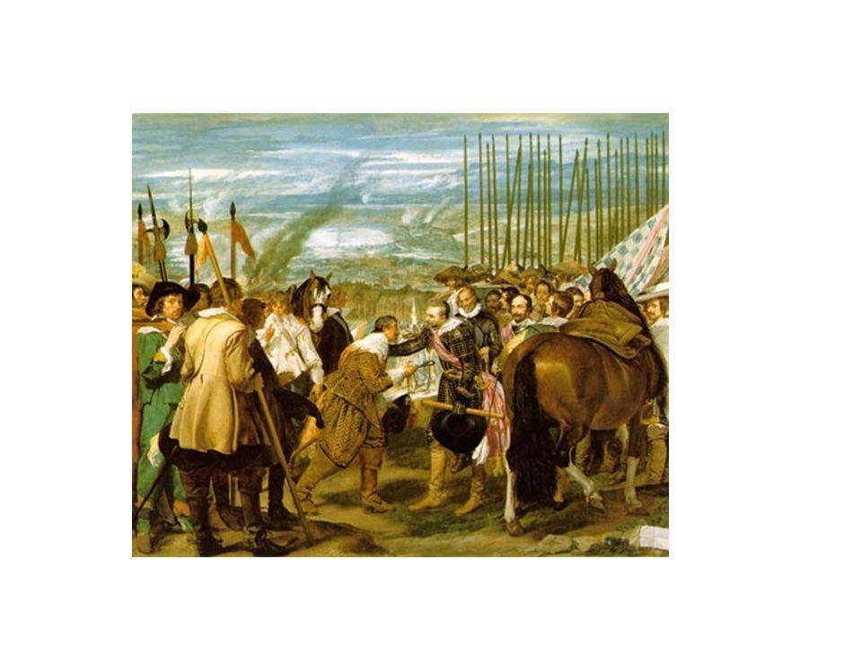 La rendición de Breda o Las Lanzas, de Velázquez. La postura de las lanzas refleja el triunfo español, a la derecha. Al fondo el paisaje humeante. La