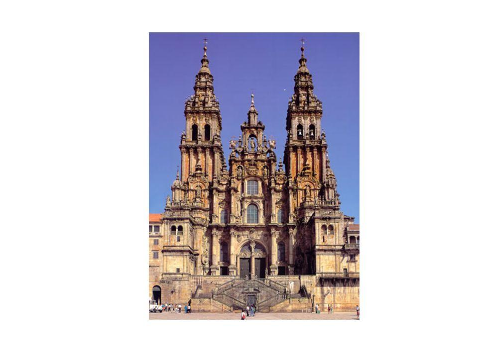 Fachada del Obradoiro de la Catedral de Santiago de Compostela, de Casas y Novoa Oculta la Portada Románico del Pórtico de la Gloria y destaca la sobr