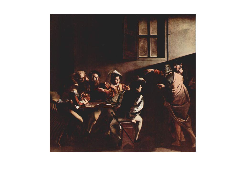 Vocacion de San Mateo, de Caravaggio. Se representa la elección divina de Matero para incorporarse al grupo de discípulos de Jesús. Mateo y sus compañ