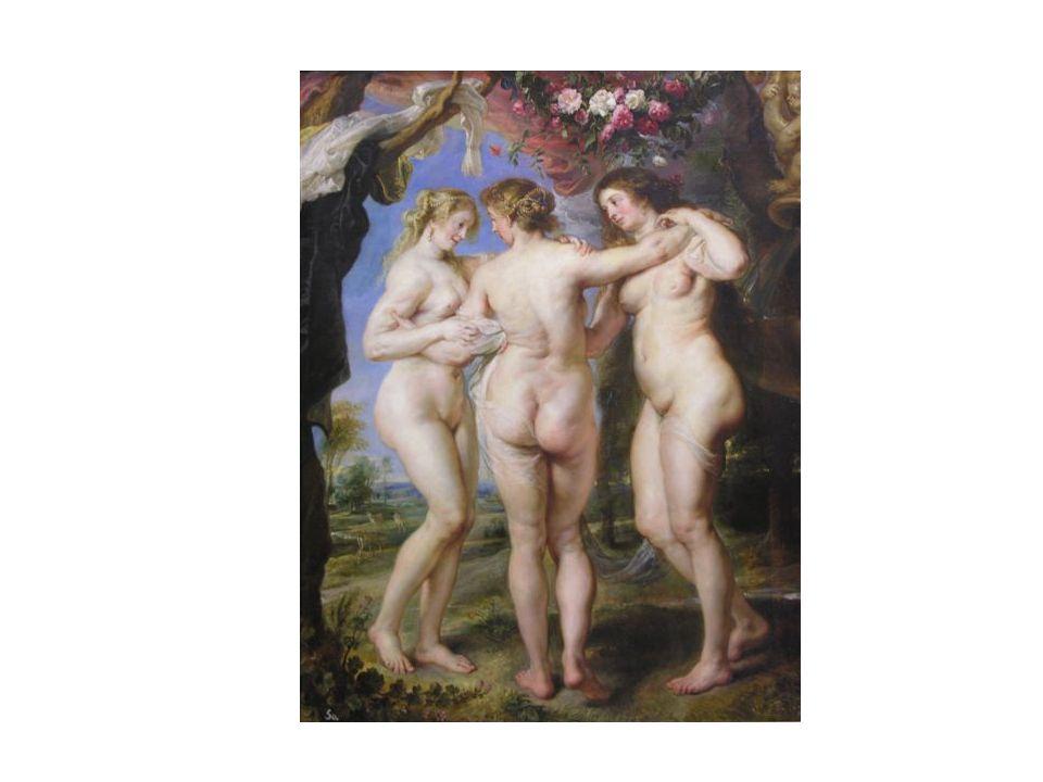 Las Tres Gracias, de Rubens. Parece como si las tres figuras estuvieran a punto de comenzar una danza, de manera que mueven un pie hacia atrás, lo que