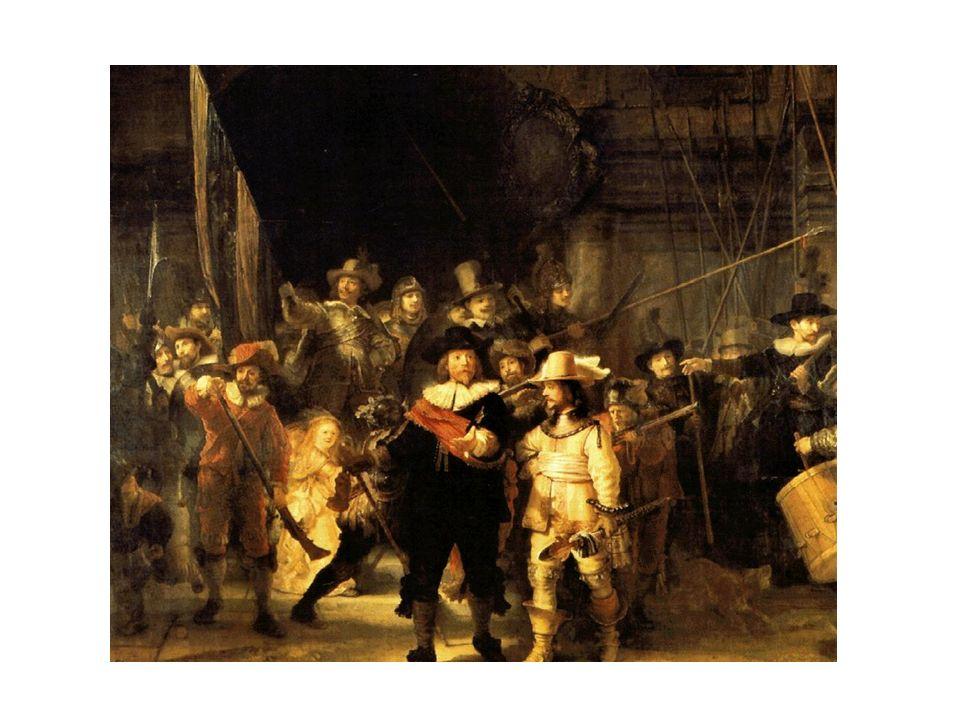 Ronda de Noche, de Rembrandt. Representan el momento en que el Capitán Cop y su teniente dan lo orden de comenzar la guardia. Destaca la figura, de un
