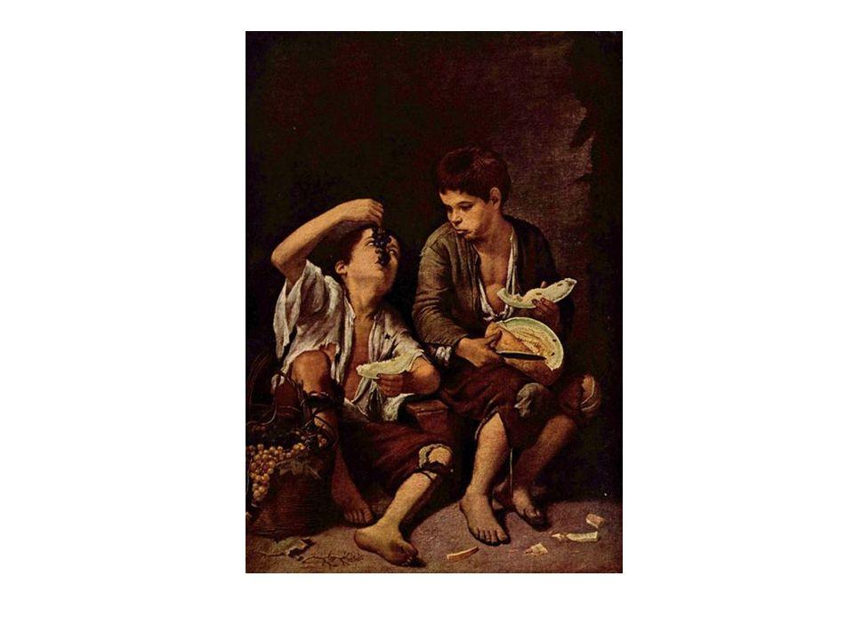 Niños comiendo fruta, de Murillo. Reflejan el interés por la realidad cotidiana, muy alejada del ideal de belleza renacentista. Destacan las ropas raí