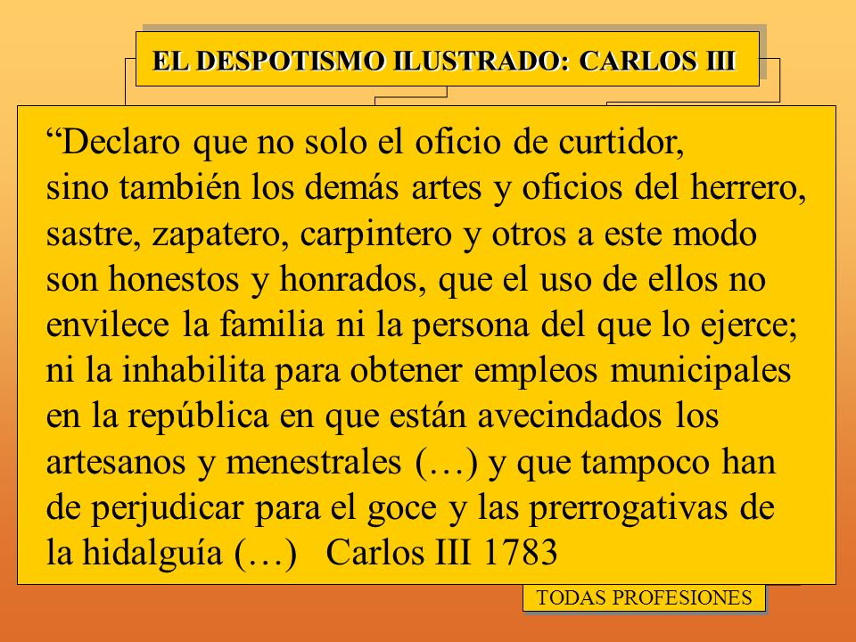 DECLARAR HONESTA TODAS PROFESIONES DECLARAR HONESTA TODAS PROFESIONES EXPULSIÓN JESUITAS EXPULSIÓN JESUITAS REFORMAS SANITARIAS Y VESTIDOS REFORMAS SANITARIAS Y VESTIDOS REGALISMO PÉRDIDA INFLUENCIA NOBLEZA Y CLERO PÉRDIDA INFLUENCIA NOBLEZA Y CLERO SUBIDA PRECIOS ALIMENTOS SUBIDA PRECIOS ALIMENTOS FISIOCRACIA EXTRANJEROS EN GOBIERNO EXTRANJEROS EN GOBIERNO REFORMISMO ECONÓMICO REFORMISMO ECONÓMICO EXPEDIENTE DE LA LEY AGRARIA EXPEDIENTE DE LA LEY AGRARIA EL DESPOTISMO ILUSTRADO: CARLOS III MOTÍN DE ESQUILACHE MOTÍN DE ESQUILACHE SOCIEDADES ECONÓMICAS DE AMIGOS DEL PAÍS SOCIEDADES ECONÓMICAS DE AMIGOS DEL PAÍS APOYO INDUSTRIA PROTECCIONISMO ECONÓMICO PROTECCIONISMO ECONÓMICO LIBERALIZACIÓN COMERCIO LIBERALIZACIÓN COMERCIO LIMITAR PRIVILEGIOS MESTA LIMITAR PRIVILEGIOS MESTA ¡¡¡Agua vaaaaaaaa!!!.