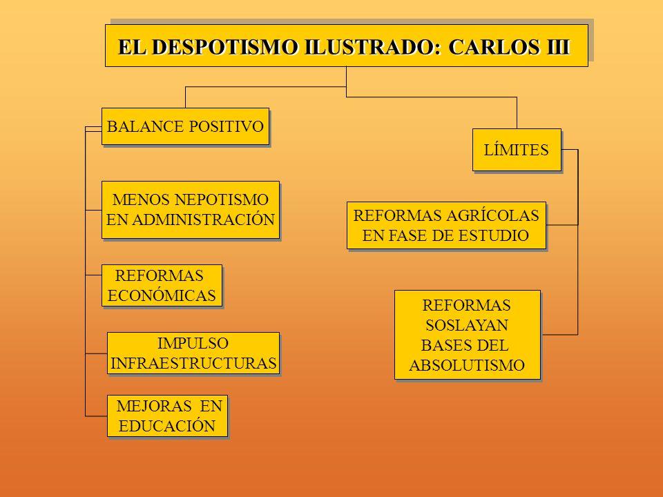 MENOS NEPOTISMO EN ADMINISTRACIÓN MENOS NEPOTISMO EN ADMINISTRACIÓN REFORMAS ECONÓMICAS REFORMAS ECONÓMICAS IMPULSO INFRAESTRUCTURAS IMPULSO INFRAESTRUCTURAS MEJORAS EN EDUCACIÓN MEJORAS EN EDUCACIÓN LÍMITES EL DESPOTISMO ILUSTRADO: CARLOS III BALANCE POSITIVO REFORMAS SOSLAYAN BASES DEL ABSOLUTISMO REFORMAS SOSLAYAN BASES DEL ABSOLUTISMO REFORMAS AGRÍCOLAS EN FASE DE ESTUDIO REFORMAS AGRÍCOLAS EN FASE DE ESTUDIO