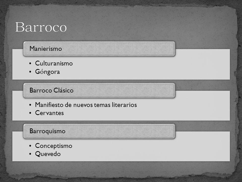 Culturanismo G ó ngora Manierismo Manifiesto de nuevos temas literarios Cervantes Barroco Clásico Conceptismo Quevedo Barroquismo