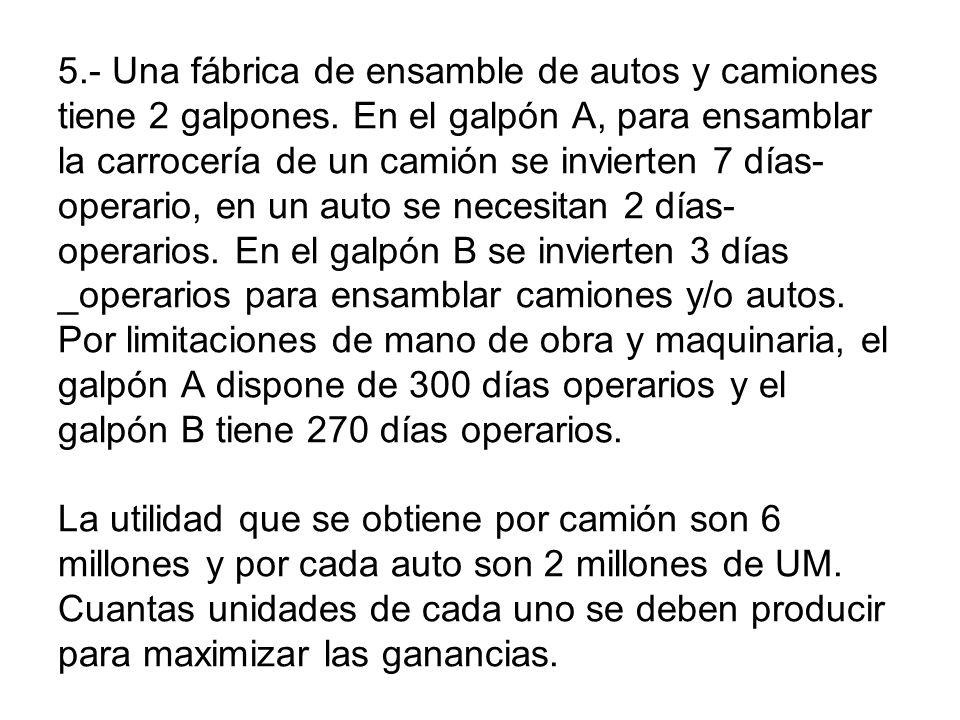 5.- Una fábrica de ensamble de autos y camiones tiene 2 galpones. En el galpón A, para ensamblar la carrocería de un camión se invierten 7 días- opera