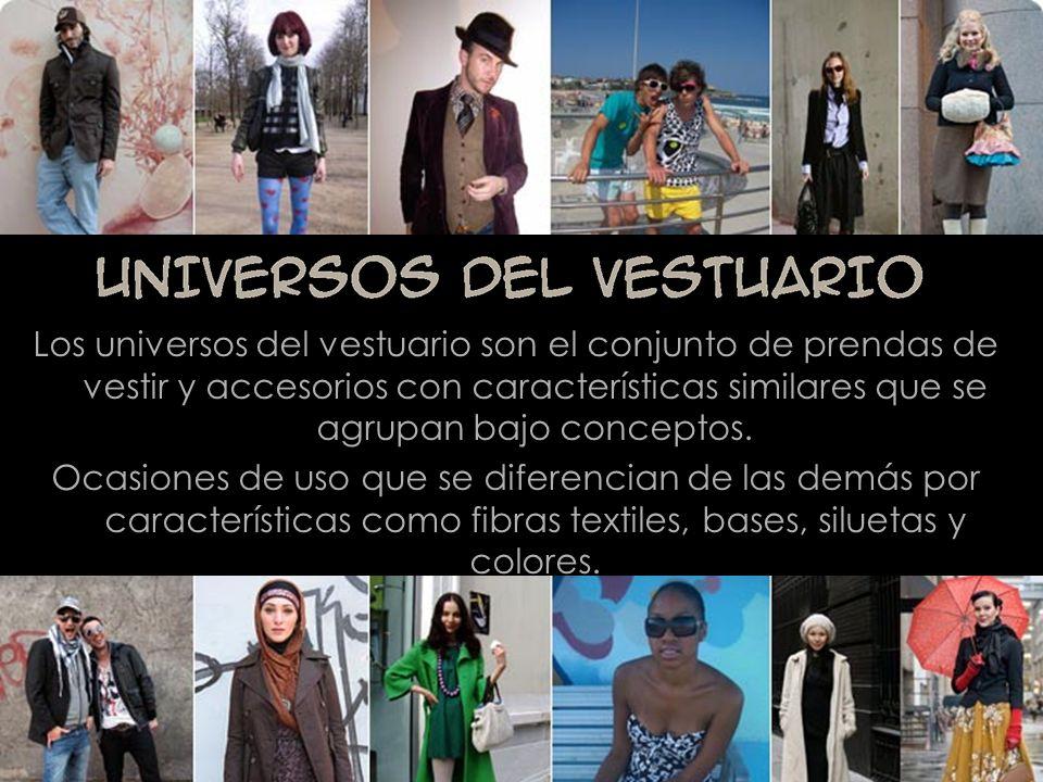 Los universos del vestuario son el conjunto de prendas de vestir y accesorios con características similares que se agrupan bajo conceptos. Ocasiones d