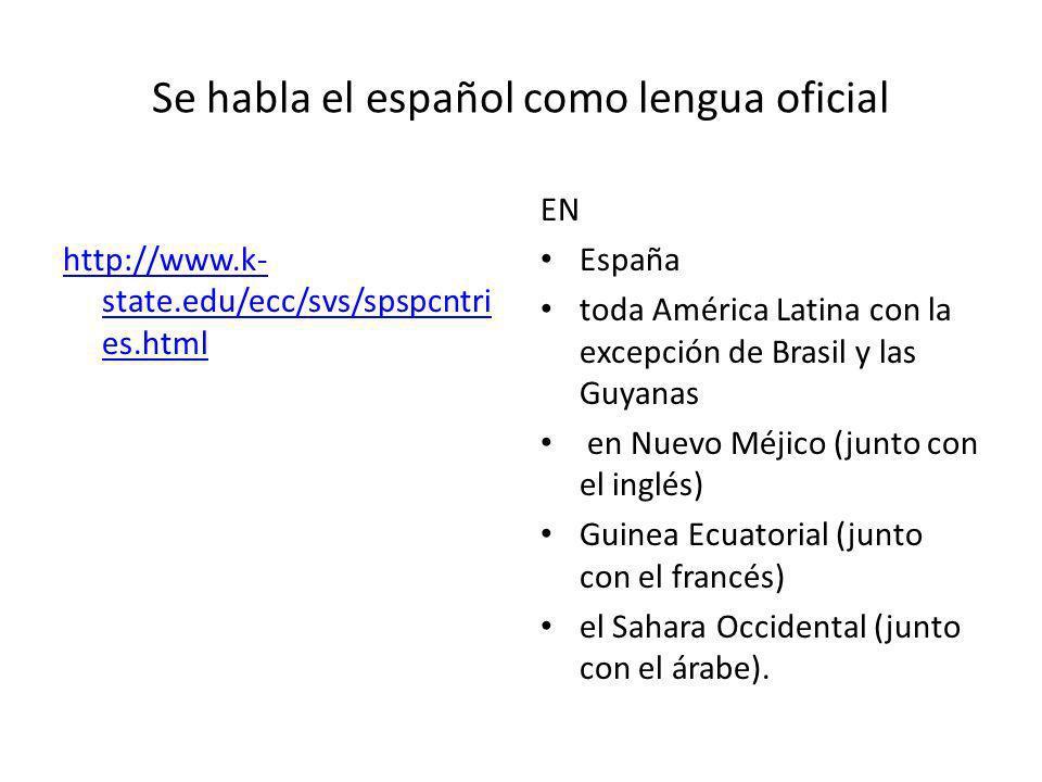 Se habla el español como lengua oficial http://www.k- state.edu/ecc/svs/spspcntri es.html EN España toda América Latina con la excepción de Brasil y l