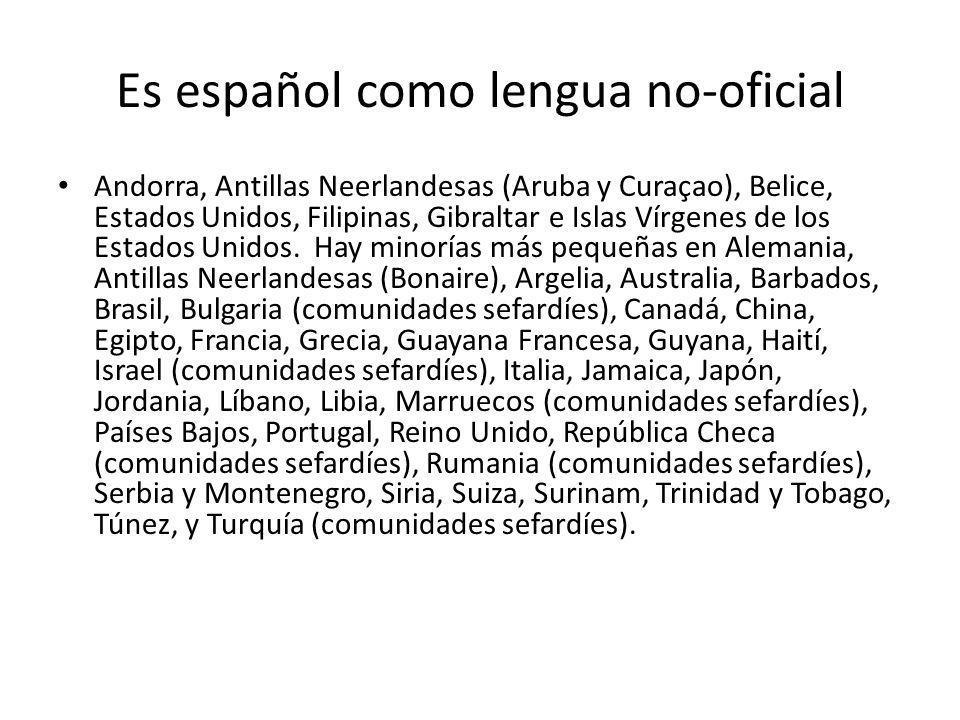 Es español como lengua no-oficial Andorra, Antillas Neerlandesas (Aruba y Curaçao), Belice, Estados Unidos, Filipinas, Gibraltar e Islas Vírgenes de l