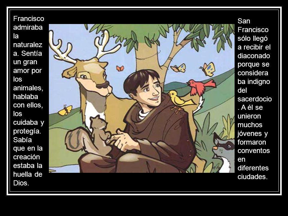 Francisco admiraba la naturalez a. Sentía un gran amor por los animales, hablaba con ellos, los cuidaba y protegía. Sabía que en la creación estaba la