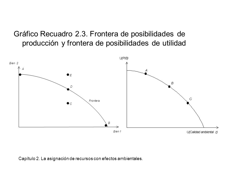 Capítulo 2. La asignación de recursos con efectos ambientales. Gráfico Recuadro 2.3. Frontera de posibilidades de producción y frontera de posibilidad