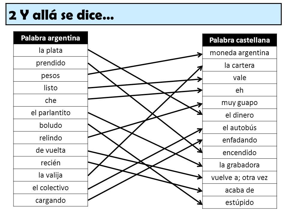 2 Y allá se dice… Palabra argentina la plata prendido pesos listo che el parlantito boludo relindo de vuelta recién la valija el colectivo cargando Pa