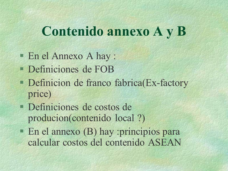 Contenido annexo A y B §En el Annexo A hay : §Definiciones de FOB §Definicion de franco fabrica(Ex-factory price) §Definiciones de costos de producion(contenido local ?) §En el annexo (B) hay :principios para calcular costos del contenido ASEAN