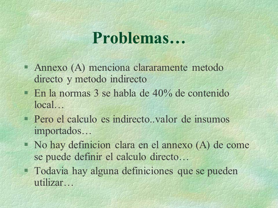 Problemas… §Annexo (A) menciona clararamente metodo directo y metodo indirecto §En la normas 3 se habla de 40% de contenido local… §Pero el calculo es