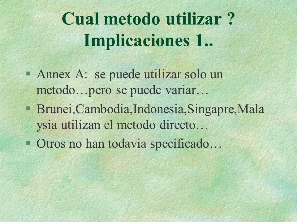 Cual metodo utilizar ? Implicaciones 1.. §Annex A: se puede utilizar solo un metodo…pero se puede variar… §Brunei,Cambodia,Indonesia,Singapre,Mala ysi