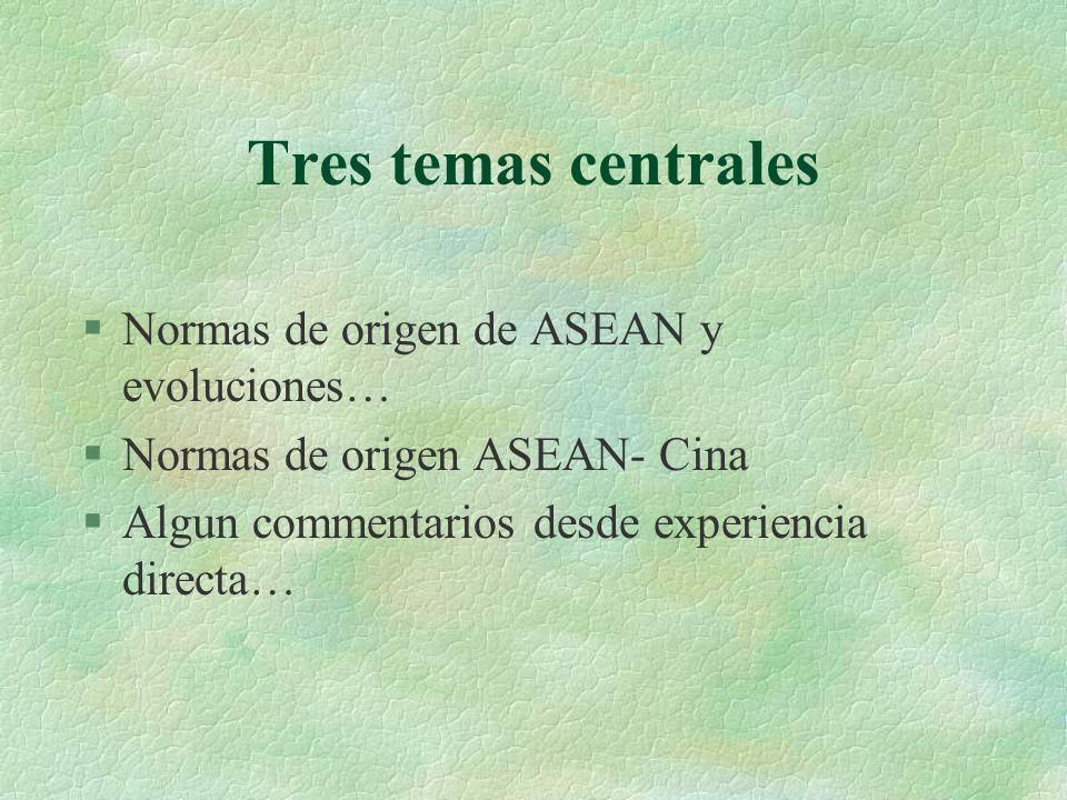 Tres temas centrales §Normas de origen de ASEAN y evoluciones… §Normas de origen ASEAN- Cina §Algun commentarios desde experiencia directa…