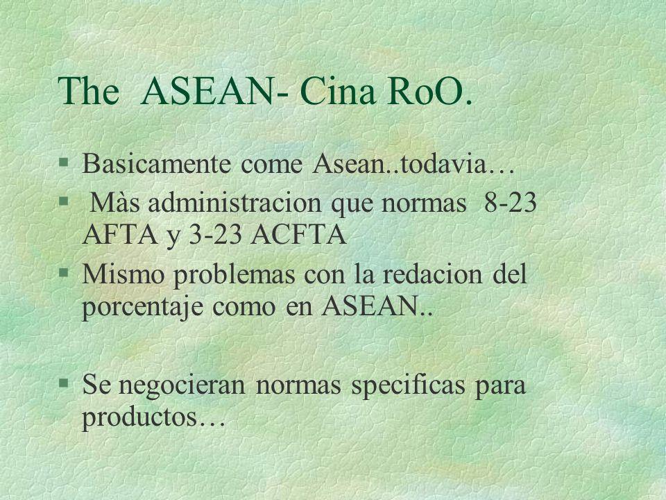 The ASEAN- Cina RoO. §Basicamente come Asean..todavia… § Màs administracion que normas 8-23 AFTA y 3-23 ACFTA Mismo problemas con la redacion del porc