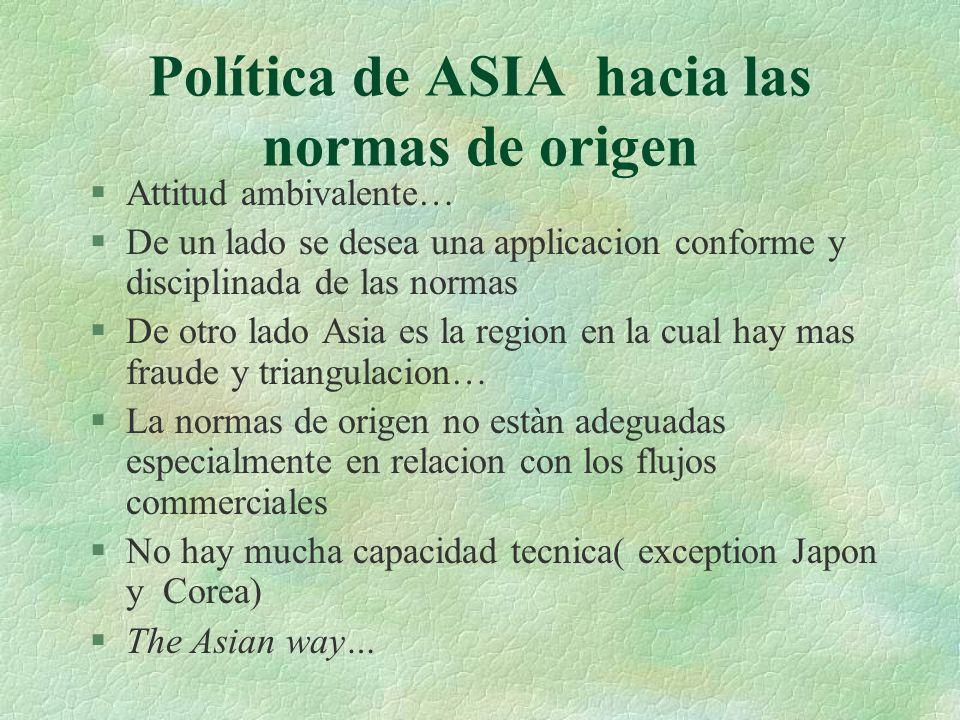 Política de ASIA hacia las normas de origen §Attitud ambivalente… §De un lado se desea una applicacion conforme y disciplinada de las normas §De otro