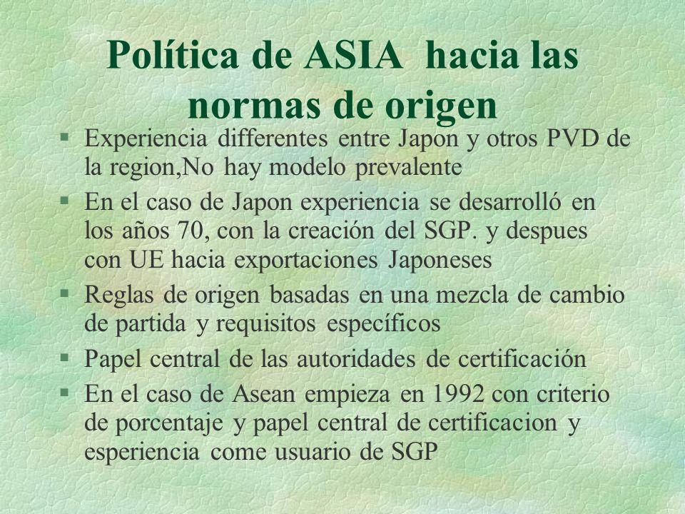 Política de ASIA hacia las normas de origen §Experiencia differentes entre Japon y otros PVD de la region,No hay modelo prevalente §En el caso de Japo