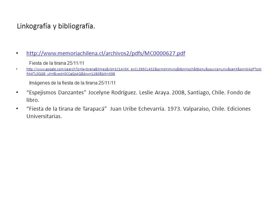 Linkografía y bibliografía. http://www.memoriachilena.cl/archivos2/pdfs/MC0000627.pdf http://www.google.com/search?q=la+tirana&hl=es&rlz=1C1AVSX_enCL3